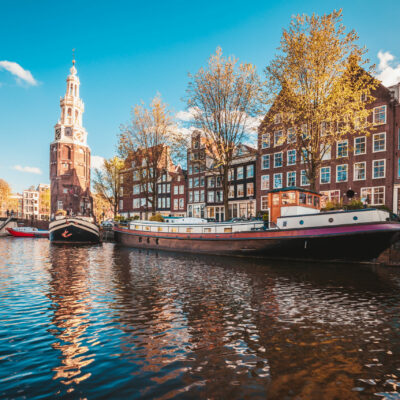 Historic center of Amsterdam with St. Nicholas in Amsterdam, Holland